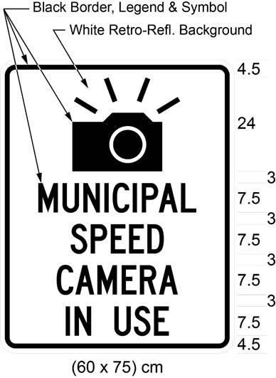 Illustration of sign with image of camera and text MUNICIPAL SPEED CAMERA IN USE