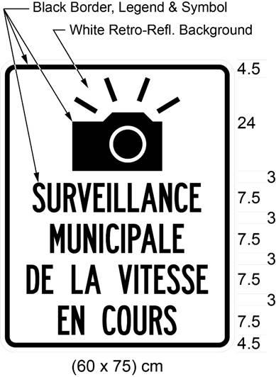 Illustration of sign with image of camera and text SURVEILLANCE MUNICIPALE DE LA VITESSE EN COURS