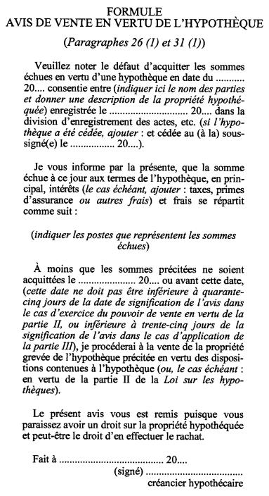 Hypotheques Loi Sur Les L R O 1990 Chap M 40
